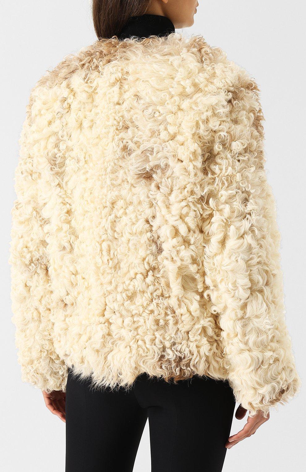 Женская укороченная шуба из овечьего меха SAINT LAURENT белого цвета, арт. 526009/Y7RY2   Фото 4