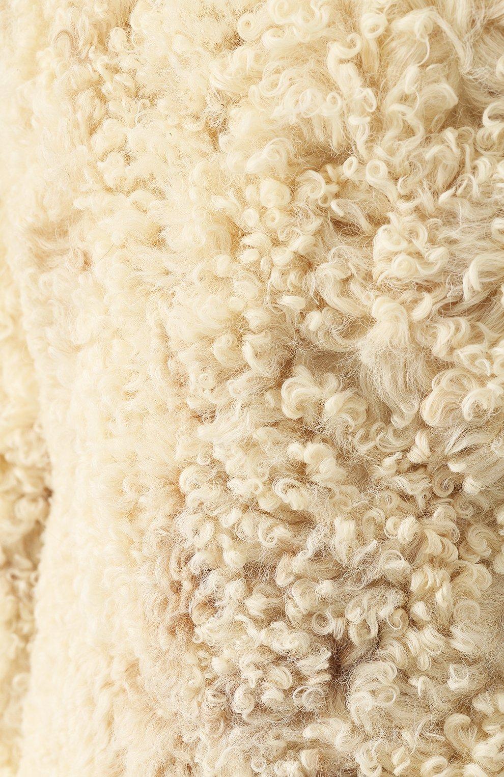 Женская укороченная шуба из овечьего меха SAINT LAURENT белого цвета, арт. 526009/Y7RY2   Фото 5