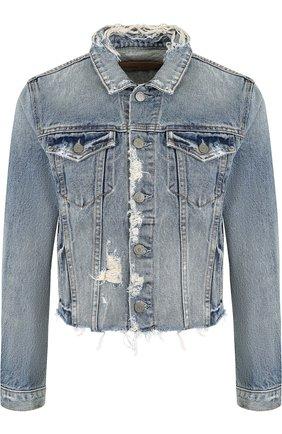 Укороченная джинсовая куртка с потертостями GRLFRND голубая | Фото №1