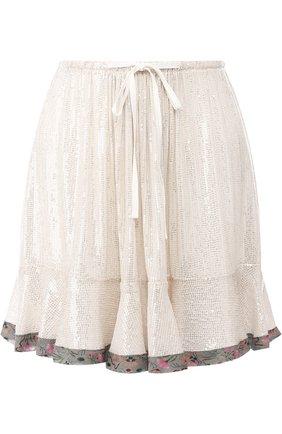 Женская шелковая мини-юбка с контрастной отделкой и пайетками CHLOÉ серебряного цвета, арт. CHC18AJU81481 | Фото 1