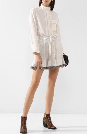 Женская шелковая мини-юбка с контрастной отделкой и пайетками CHLOÉ серебряного цвета, арт. CHC18AJU81481 | Фото 2