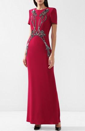 Однотонное платье-макси с декоративной отделкой   Фото №3