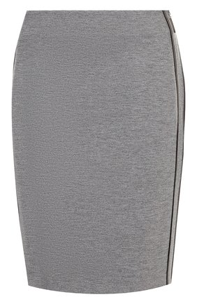 Однотонная юбка-карандаш с контрастной отделкой Escada Sport серая | Фото №1