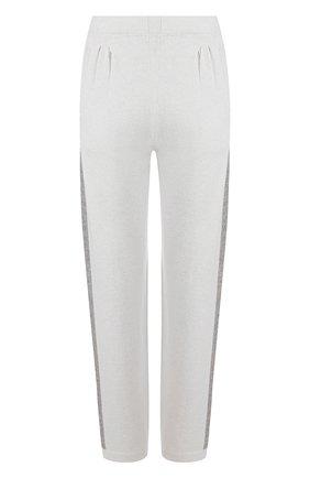Однотонные брюки с контрастными лампасами D.Exterior бежевые | Фото №1