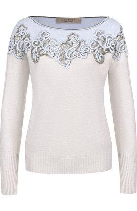 Вязаный пуловер с декоративной вышивкой D.Exterior светло-голубой | Фото №1