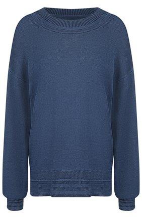 Однотонный хлопковый пуловер со спущенным рукавом   Фото №1