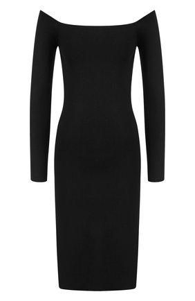 Однотонное мини-платье с открытыми плечами   Фото №1