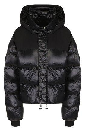 Стеганая куртка с капюшоном и воротником стойкой Ben Taverniti Unravel Project черная | Фото №1