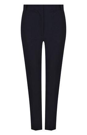 Однотонные укороченные брюки из смеси хлопка и вискозы Joseph темно-синие | Фото №1