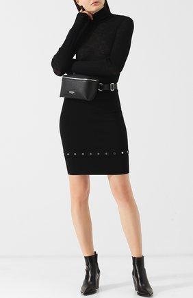 Однотонная мини-юбка с металлической отделкой Alexander Wang черная | Фото №1