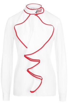Женская блуза с контрастной отделкой и воротником-стойкой Stella Jean, цвет белый, арт. J C 043 01 T 9380 в ЦУМ | Фото №1