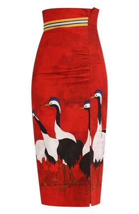 Хлопковая юбка-миди с завышенной талией и принтом Stella Jean красная | Фото №1