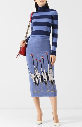 Шерстяная водолазка с полоску Stella Jean синяя | Фото №1