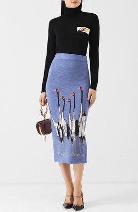 Шерстяная юбка-миди с декоративной вышивкой Stella Jean голубая | Фото №1