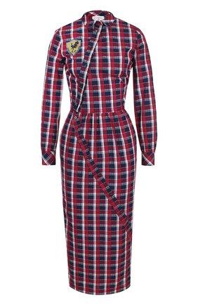 Приталенное хлопковое платье-миди в клетку Stella Jean разноцветное | Фото №1