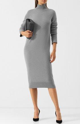Однотонное платье-миди из смеси шерсти и кашемира  MRZ серое | Фото №1