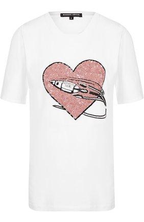 Хлопковая футболка с декоративной отделкой Markus Lupfer белая | Фото №1