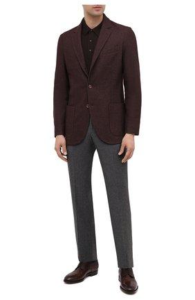 Мужской классические кожаные дерби с брогированием KITON темно-коричневого цвета, арт. USSDECHN00101/3329 | Фото 2