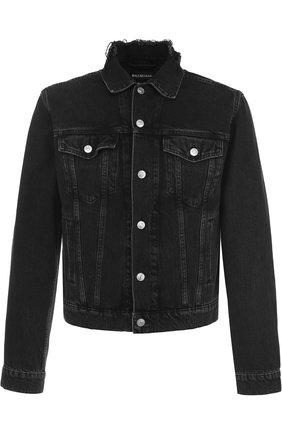 Укороченная джинсовая куртка с принтом | Фото №1