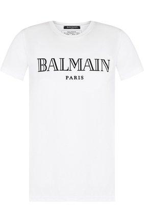 Мужская хлопковая футболка с принтом BALMAIN белого цвета, арт. W8H/8601/I259 | Фото 1