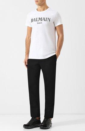 Мужская хлопковая футболка с принтом BALMAIN белого цвета, арт. W8H/8601/I259 | Фото 2