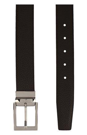 Кожаный ремень с металлической пряжкой A. Testoni темно-коричневый | Фото №1