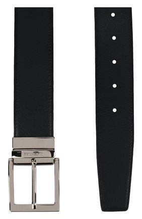 Кожаный ремень с металлической пряжкой A. Testoni черный | Фото №1