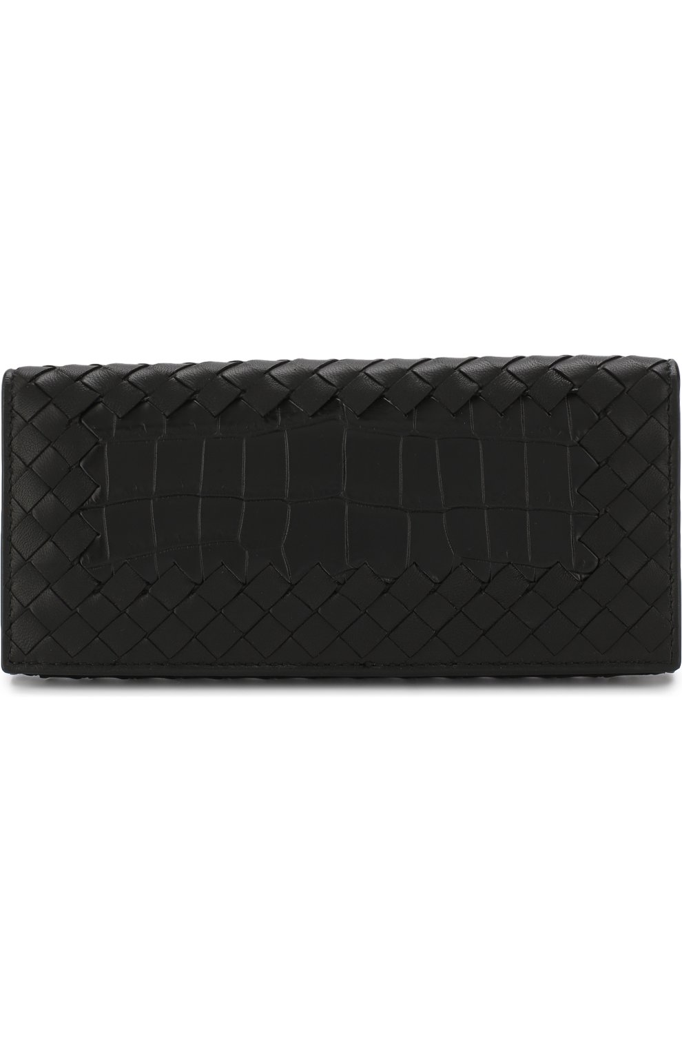 64c056411b18 Портмоне из кожи крокодила с плетением intrecciato Bottega Veneta черного  цвета | Фото №1