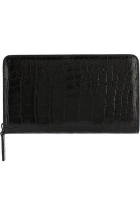 Мужской портмоне на молнии из кожи крокодила BRIONI черного цвета, арт. 0HQL0L/07718/AMIS | Фото 1