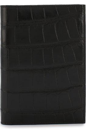 Мужская обложка для паспорта из кожи крокодила BRIONI черного цвета, арт. 0HQS0L/07718/AMIS | Фото 1