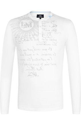 Хлопковая футболка-хенли с длинными рукавами La Martina темно-синяя | Фото №1