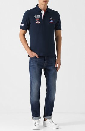 Хлопковое поло с вышивкой La Martina темно-синее | Фото №1