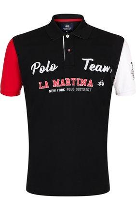 Хлопковое поло с вышивкой La Martina черное | Фото №1