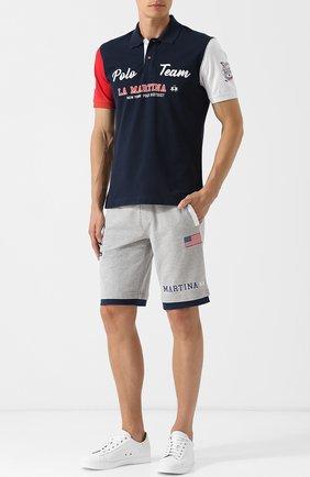 Хлопковые шорты с нашивками La Martina светло-серые | Фото №1