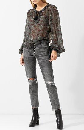 Женские кожаные ботильоны lou на устойчивом каблуке SAINT LAURENT черного цвета, арт. 529350/0RRVV | Фото 2