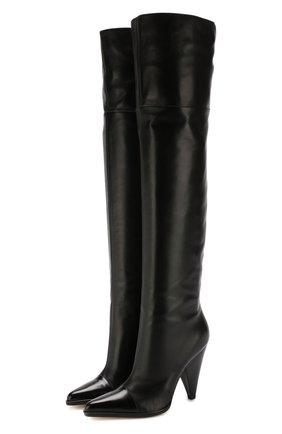 Кожаные ботфорты Carla на фигурном каблуке | Фото №1