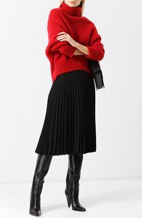 Кожаные ботфорты Carla на фигурном каблуке Sergio Rossi черные | Фото №1