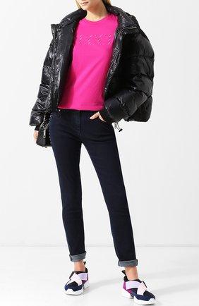 Текстильные кроссовки с замшевой отделкой и эластичными лентами Emilio Pucci синие | Фото №1