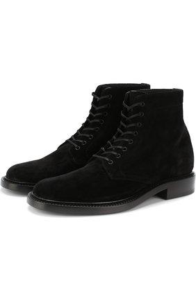 Женские замшевые ботинки army на шнуровке SAINT LAURENT черного цвета, арт. 531313/0S000 | Фото 1