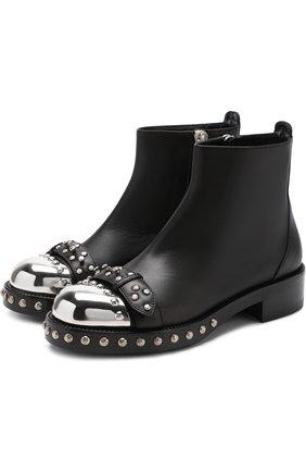 Кожаные ботинки с декорированным мысом | Фото №1