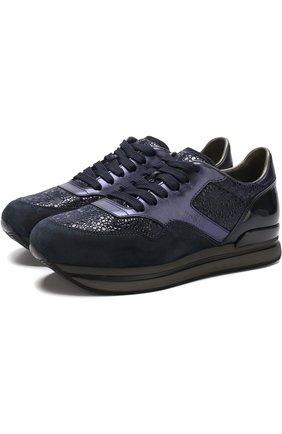 Кожаные кросcовки на шнуровке Hogan темно-синие | Фото №1
