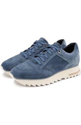 Замшевые кроссовки на шнуровке Santoni голубые | Фото №1