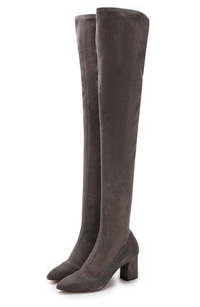 Замшевые ботфорты на устойчивом каблуке Santoni темно-серые | Фото №1