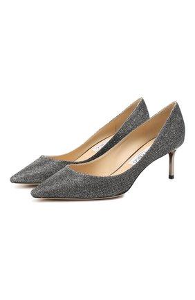Женские текстильные туфли romy 60 с люрексом JIMMY CHOO серого цвета, арт. R0MY 60/LAG | Фото 1