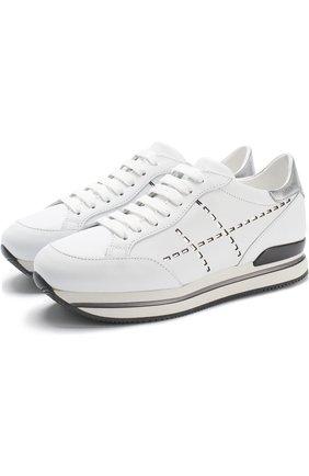 Кожаные кроссовки с отделкой на шнуровке Hogan белые | Фото №1