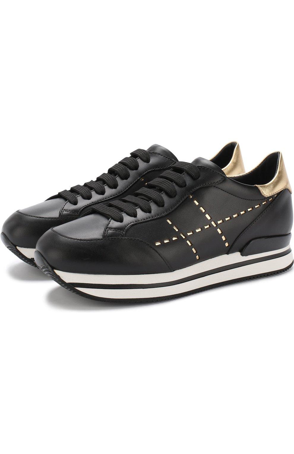 Кожаные кроссовки с отделкой на шнуровке | Фото №1