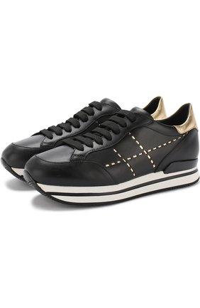 Кожаные кроссовки с отделкой на шнуровке Hogan черные | Фото №1