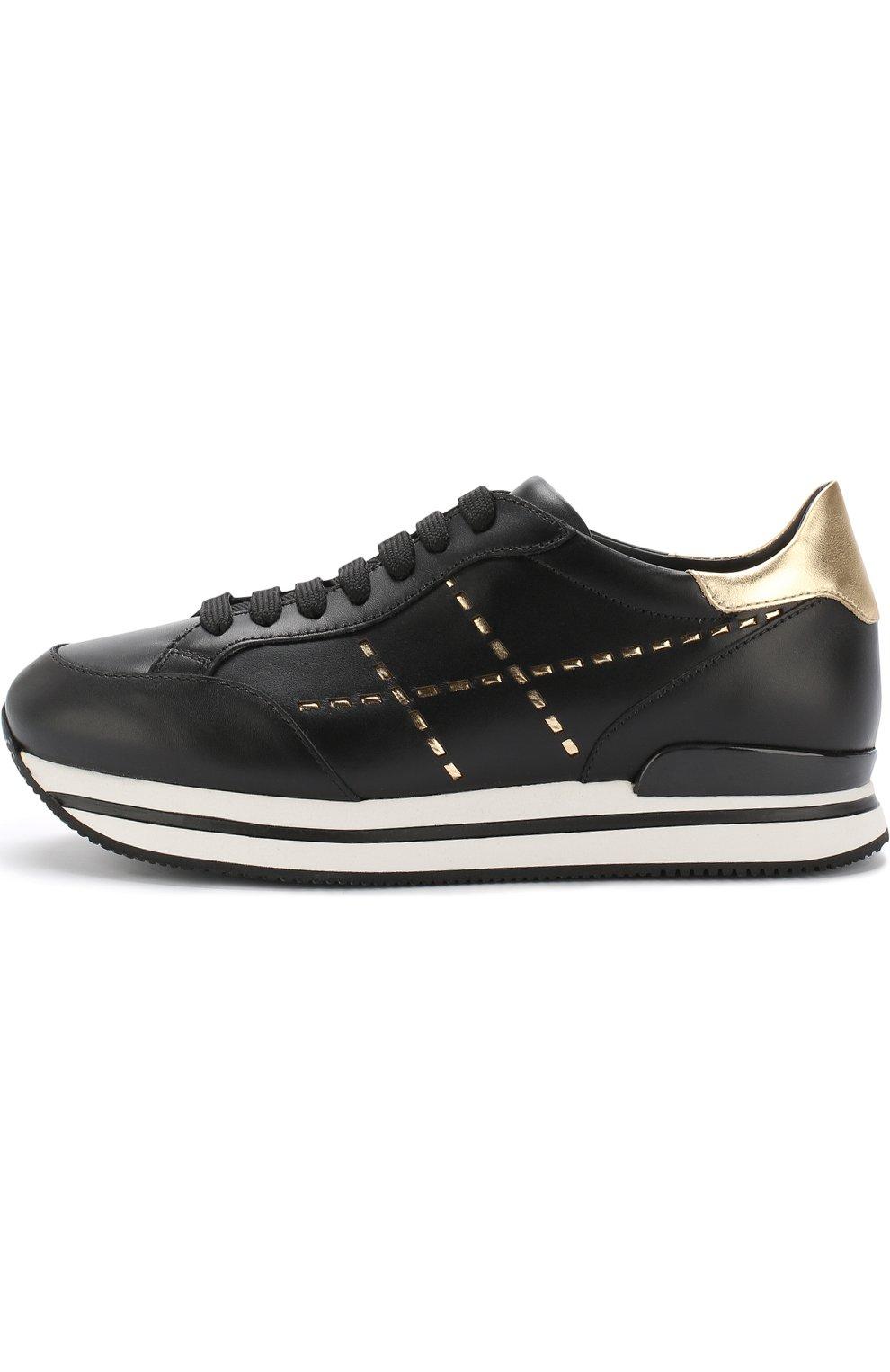 Кожаные кроссовки с отделкой на шнуровке Hogan черные | Фото №3