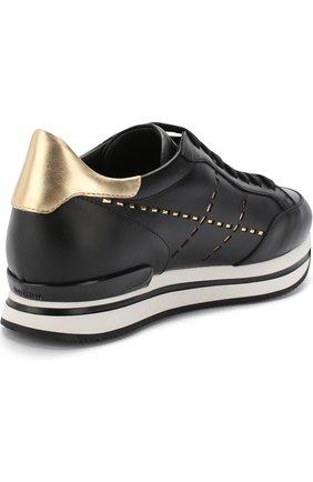 Кожаные кроссовки с отделкой на шнуровке Hogan черные | Фото №4