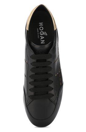 Кожаные кроссовки с отделкой на шнуровке Hogan черные | Фото №5